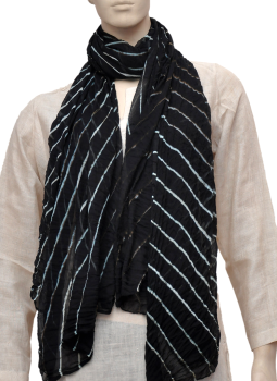 Stoles and Dupattas,Indiacraft,Chinon Lehariya stole - Black & white CLSJA