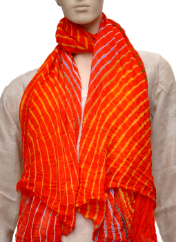 Stoles and Dupattas,Indiacraft,Chinon Lehariya stole - Orange & Yellow CLSJC