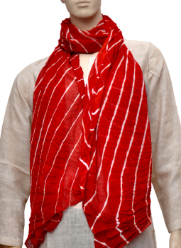 Stoles and Dupattas,Indiacraft,Chinon Lehariya stole - Red & white CLSJD