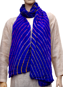 Stoles and Dupattas,Indiacraft,Chinon lehariya stole - Royal blue CLSJE