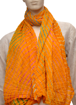 Stoles and Dupattas,Indiacraft,Chinon Lehariya stole - Yellow & white CLSJF