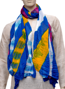 Stoles and Dupattas,Indiacraft,Chinon Tie & Dye stole - Blue & yellow CLSJG