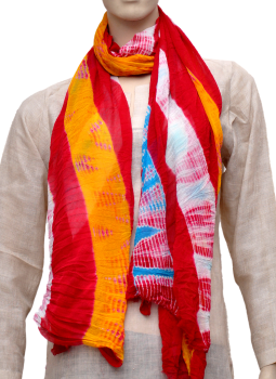 Stoles and Dupattas,Indiacraft,Chinon Tie & Dye stole - Red & yellow CLSJI