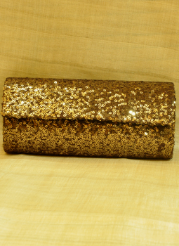 Brocade clutch bag,Indiacraft,Dark Bronze Sequinned Satin Clutch Bag - With Flap