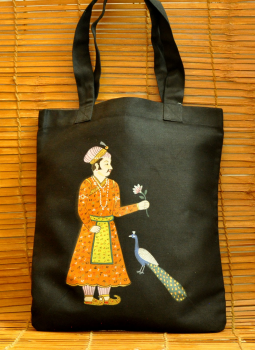 Kutch Embroidered Handbags,Indiacraft,Miniature art on large canvas hand bag- King & peacock  D...