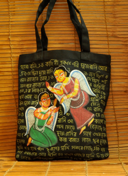 Kutch Embroidered Handbags,Indiacraft,Kalighat art on large canvas hand bag- Angels  DHAK20KBA