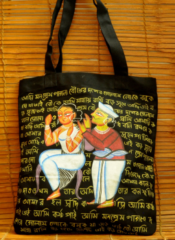 Kutch Embroidered Handbags,Indiacraft,Kalighat art on large canvas hand bag- couple   DHAK20KBC