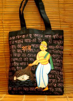 Kutch Embroidered Handbags,Indiacraft,Kalighat art on large canvas hand bag- fisherman  DHAK20KBF