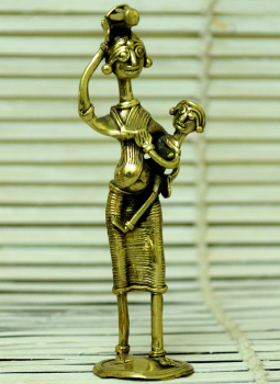Dhokra Metal Casting Art,Indiacraft,Dhokra Craft Curio- Woman & Child