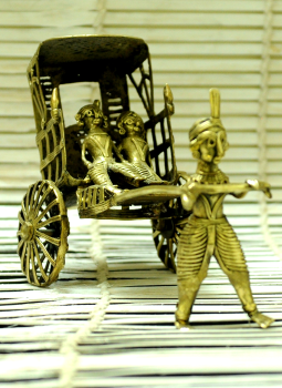Dhokra Metal Casting Art,Indiacraft,Dhokra Craft Curio - Rickshaw Puller