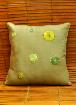 Soft Furnishinngs,Indiacraft,Hand embroidered raw cotton cushion cover - khaki green D...
