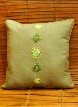 Soft Furnishinngs,Indiacraft,Hand embroidered raw cotton cushion cover - khaki green  ...