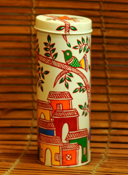 Cookie Boxes,Indiacraft,Madhubani Painted Tin Cookie Boxes  Big  DHS116BK