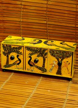Pattachitra Art,Indiacraft,Patachitra Art Trinket Chest - yellow (10
