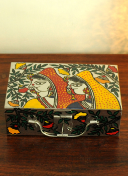 Madhubani Painted Canisters,Indiacraft,Madhubani painted Tin Trunk Small-Women DHS161A