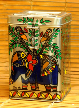 Madhubani Painted Canisters,Indiacraft,Madhubani Painted Steel Canister  Medium DHS163MC