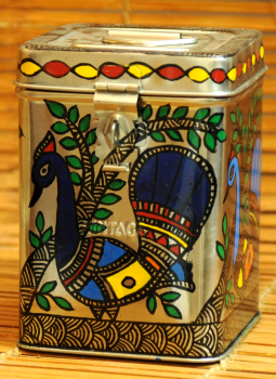 Madhubani Painted Canisters,Indiacraft,Madhubani Painted Steel Canister Small DHS164SA