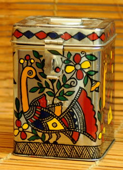 Madhubani Painted Canisters,Indiacraft,Madhubani Painted Steel Canister  Small DHS164SC