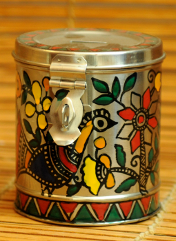 Madhubani Painted Canisters,Indiacraft,Madhubani Painted Steel Money Box Round Small DHS179A