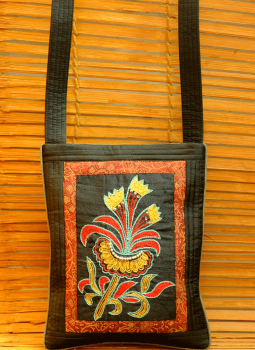 Kutch Embroidered Handbags,Indiacraft,Raw Silk & Zardozi Sling bag - Black Floral (H-9.5