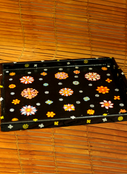 "Trays,Indiacraft,Pattachitra Art on Wooden Trays - Black floral L-15"" x W-..."