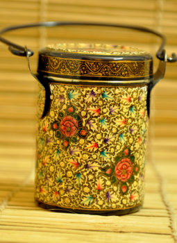 Papier Mache design on Steel,Indiacraft,Kashmiri painted  Stainless steel containers (H- 12