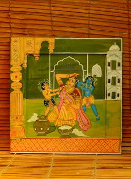 Miniature Art on Postcard,Indiacraft,Kavad Art painting on wood - Yashoda & Krishna (H-12