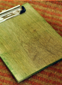 "Embellished wood,Indiacraft,Wooden engraved Clipboard lime green - Small (L-8"" x W- 6..."