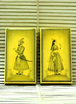 Papier Mache design on wood,Indiacraft,Fine Miniature Art on Kashmiri Boxes -Set of -2