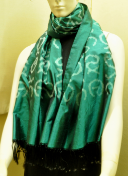 Stoles and Dupattas,Indiacraft,Dark Teal Blue Silk Stole with Akshara Block Print - Call...