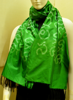 Stoles and Dupattas,Indiacraft,Emerald Green Silk Stole with Akshara Block Print -Callig...