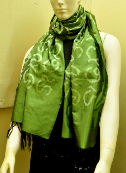 Stoles and Dupattas,Indiacraft,Green Silk Stole with Akshara Block Print - Calligraphy
