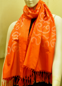 Stoles and Dupattas,Indiacraft,Orange Silk Stole with Akshara Block Print - -Calligraphy
