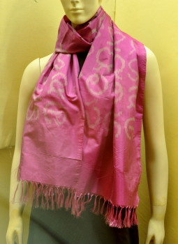 Stoles and Dupattas,Indiacraft,Pink Silk Stole with Akshara Block Print - Calligraphy