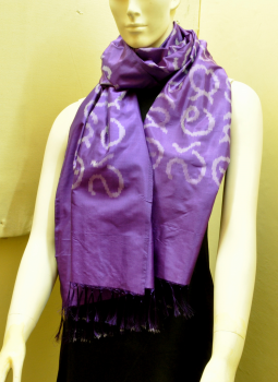Stoles and Dupattas,Indiacraft,Purple Silk Stole with Akshara Block Print - Calligraphy