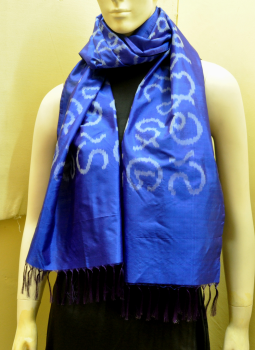 Stoles and Dupattas,Indiacraft,Royal Blue Silk Stole with Akshara Block Print - Calligraphy