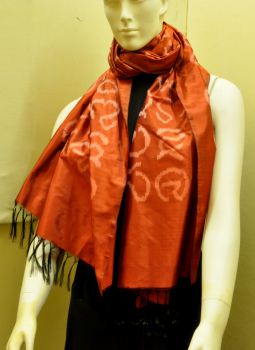 Stoles and Dupattas,Indiacraft,Rust Silk Stole with Akshara Block Print - Calligraphy