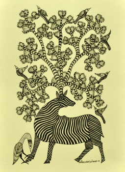 "Gond,Indiacraft,Gond painting on Paper Unframed (L-15''x W- 10"") GP1510PZ"