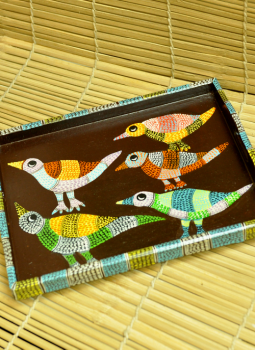 Trays,Indiacraft,Gond Painted Tray (L- 19.5
