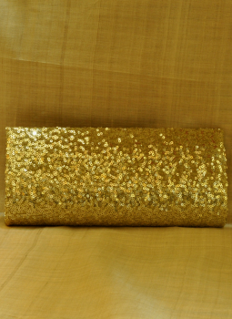 Brocade clutch bag,Indiacraft,Gold Sequinned Satin Clutch Bag