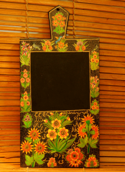 Wooden Memo slates,Indiacraft,Kashmiri Art Wooden Memo Slate - Black floral (H-14.5