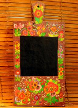 Wooden Memo slates,Indiacraft,Kashmiri Art Wooden Memo Slate - Brown floral (H-14.5