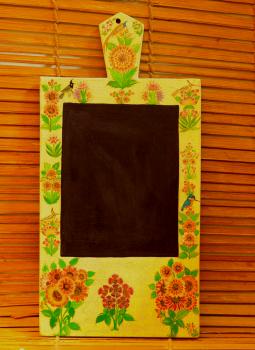 Wooden Memo slates,Indiacraft,Kashmiri Art Wooden Memo Slate - Cream (H-14.5