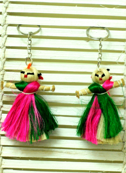 Cloth mobile,Indiacraft,Jute Doll Keychains - Set of 2