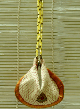 Benarasi potli  bag,Indiacraft,Jute Embellished Potli Bag with Bead Strings