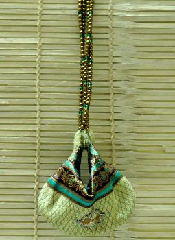 Benarasi potli  bag,Indiacraft,Jute Embellished Potli Bag with Bead Strings
