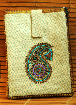 Ipad Covers,Indiacraft,Jute with Zardozi & dabka embroidery Ipad case - Beige & ...