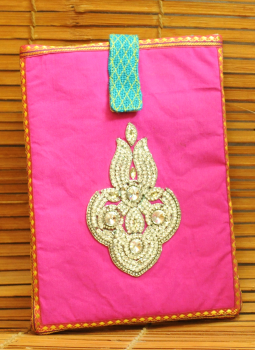 Ipad Covers,Indiacraft,Silk & Jute beadwork Ipad case - pink & beige 1850 JGEIME