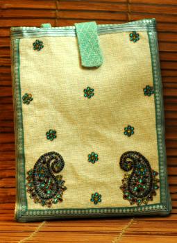 Ipad Covers,Indiacraft,Silk & Jute fine embroidered Ipad case - Cream & blue pai...