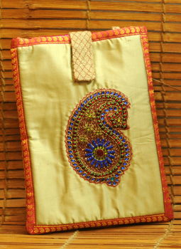 Ipad Covers,Indiacraft,Silk & Zardozi, dabka embroidered Ipad case - Beige& pink...